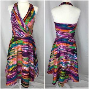 Calvin Klein Halter Dress w/ Zipper Detail, sz 4